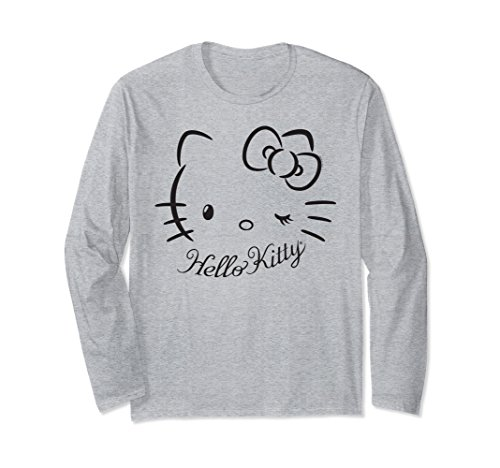 Unisex Hello Kitty Winking Logo Long Sleeve Shirt 2XL Heather Grey (For Kitty Hello Adults Clothes)