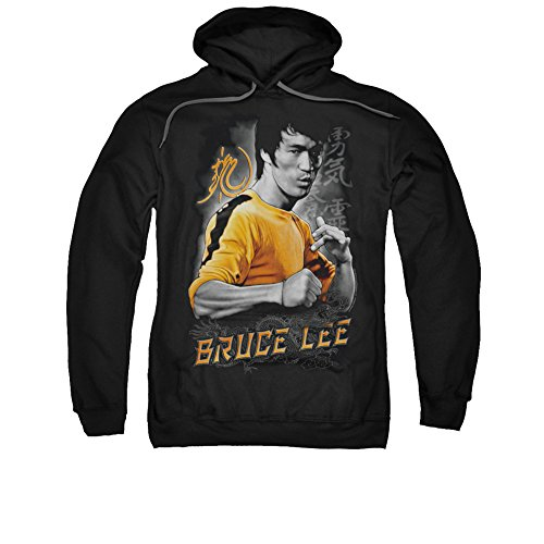 [Trevco Bruce Lee Yellow Dragon Adult Pull Over Hoodie Black 2X] (Bruce Lee Enter The Dragon Costume)