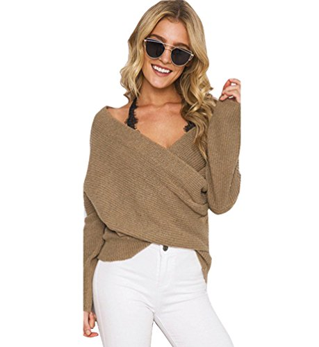 Pull V Epais Pull Ample Chaud Femme Col Longues Maille Manches Pull qS1vUU