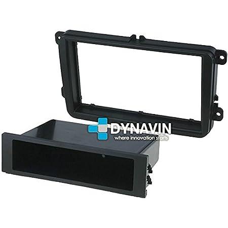 MAR-VAG.95-A2 Marco adaptador 1 y 2 ISO con portaobjetos para Volkswagen, Seat y Skoda. Para instalar radios universales en huecos RCD, RNS... Dynavin