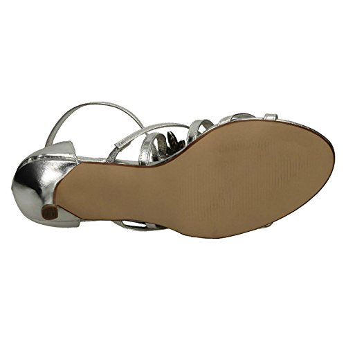 Anne Michelle Ladies Mid Heel Strappy Sandal Silver ZxeYPcN3Z