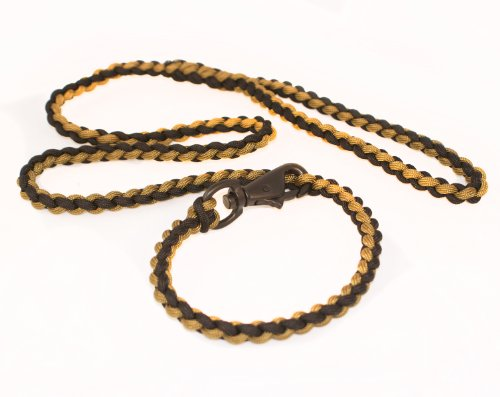 Design Dog Lead (Bison Designs Para Cord for Survival Dog Leash and Collar Combo (Black/Tan, 6 Foot))