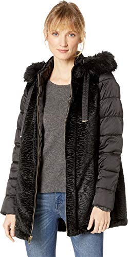 Via Spiga Women's Mixed Media Puffer with Faux Fur Trimmed Hood Black X-Large ()