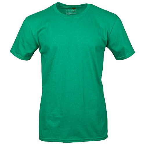 Gold Toe Men's Crew Neck T-Shirt, Kelly Green, - Green Polyester Kelly