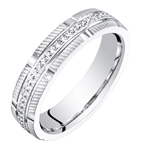 Womens 14K White Gold 4mm Textured Wedding Anniversary Ring Band Size 4.5
