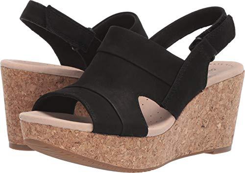 CLARKS Women's Annadel Ivory Wedge Sandal, Black Nubuck, 080 W US ()