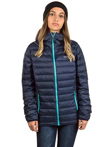 Patagonia Women's Down Sweater Hoody (Large, Navy Blue w/ Strait Blue) (Patagonia Down Sweater Jacket)
