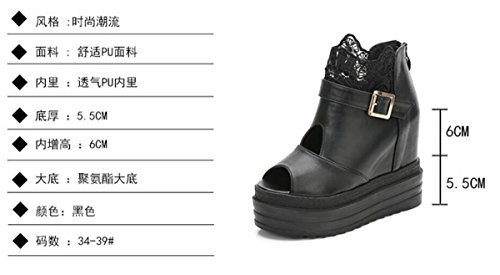 The Women'S Sexy KPHY Thick Black Spring Cake And Sponge Summer Five Fish Lace In And Shoes Floor Shoes Slope Sandals Mouth Increase Thirty 4xqzfqF