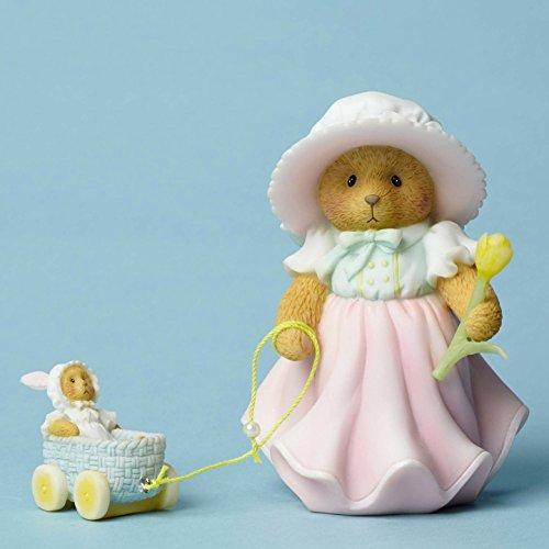 Enesco Cherished Teddies Collection Figurine Pulling Basket/Tulip