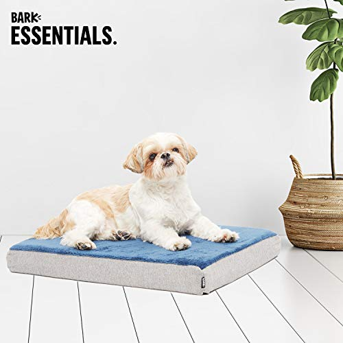 BarkBox Small Blue Ultra Plush Orthopedic Memory Foam Dog Bed or Crate Mat | Removable Washable Cover - Free Surprise!