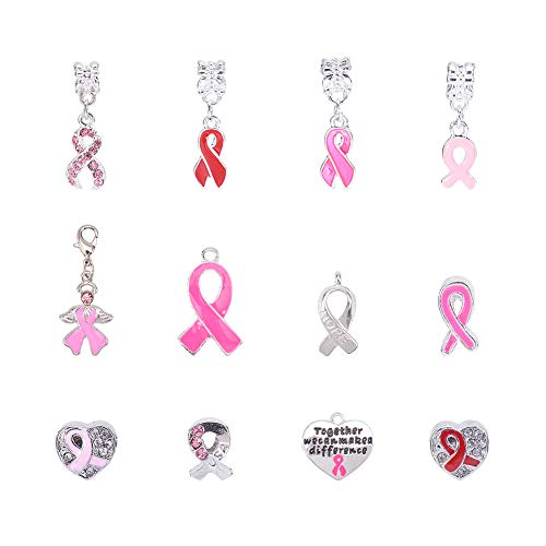 PH PandaHall 12 PCS Silver Plated Breast Cancer Awareness Pink Ribbon Dangle Charm European Style Beads Charm