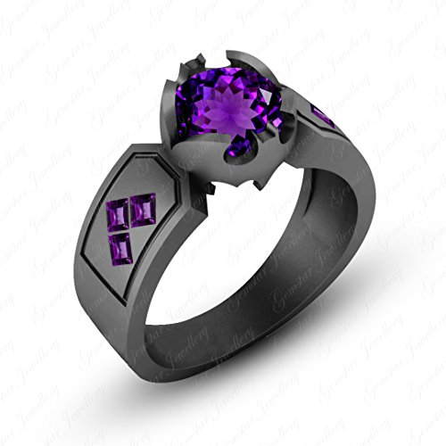 - Gemstar Jewellery 18K Black Gold Plated Round & Princess Cut Amethyst Harley Quinn Engagement Ring