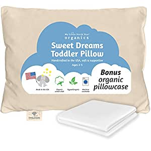 Toddler Pillow Made in USA & Pillowcase - 100% Organic Cotton - 13X18 Machine Washable - Chiropractor Recommended - Soft Safe Hypoallergenic - Best for Toddlers, Kids, Infant - Perfect for Travel