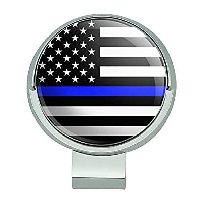 Graphics and More Thin Blue Line American Flag Golf Hat Clip With Magnetic Ball Marker