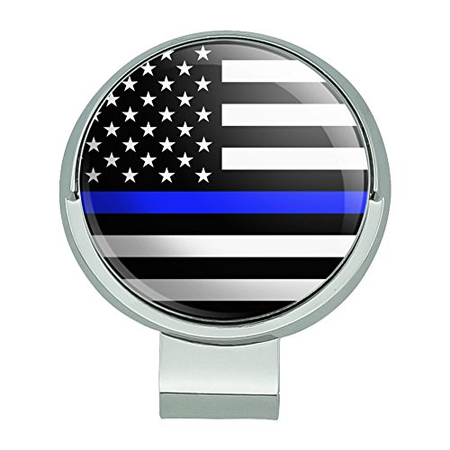GRAPHICS & MORE Thin Blue Line American Flag Golf Hat Clip with Magnetic Ball Marker