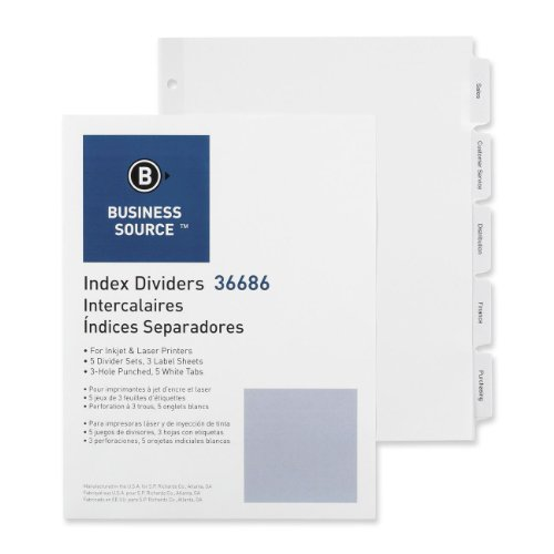 Business Source Punched Laser Index Dividers - Set of 5 Tabs - White (36686) by Business Source