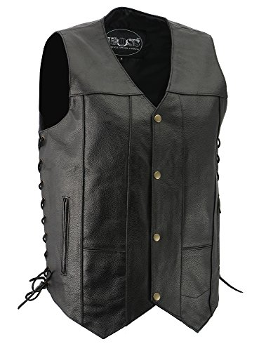 Basic Leather Motorcycle Vest - M-BOSS MOTORCYCLE APPAREL-BOS13517-BLACK-Men's Basic concealed carry biker leather vest.-BLACK-2X-LARGE