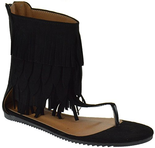Forever Embrace 7 Womens Fringe Thong Flat Gladiator Sandals Black V4qpBpCFGr
