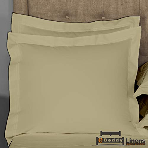Pillow sham Set of 2 Taupe Solid 800 Thread Count Decorative/Square (24x24) Size Envelope Closure Pillow Cover | Long Staple - Sateen Weave Silky Soft Natural Cotton | breathable & Smooth Feel ()