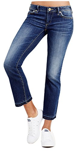 True Religion Women's Karlie Low Rise Bell Bottom Crop 27 In Band Of Blue (28) (True Jeans Religion Cropped)