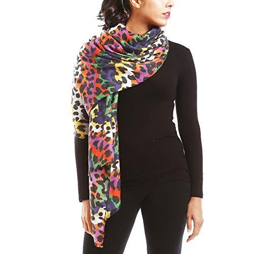 by you Women Classic Leopard Zebra Animal Print Lightweight Viscose Oblong Scarf for Women