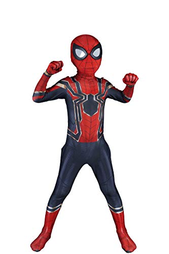 Riekinc Kids Superhero Costumes Lycra Spandex Zentai Halloween Cosplay Costumes Child Spider Man Mask