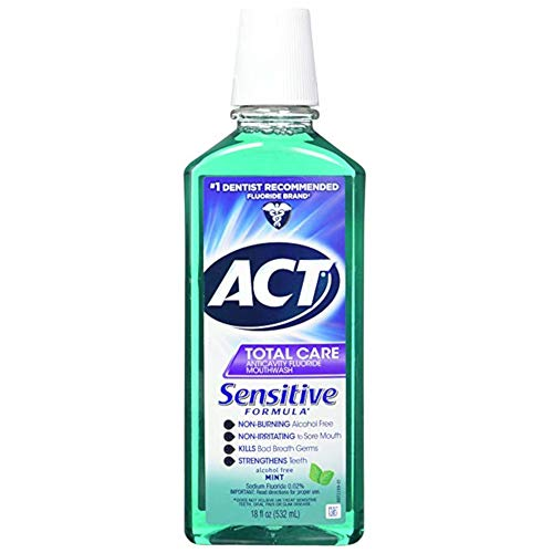 Act Total Care Mild Mint Anticavity Fluoride Mouthwash, 18 Ounce (Pack of 3)
