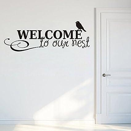 Decals Design Welcome to Our Nest Wall Sticker (PVC Vinyl, 70 cm x 25 cm, Black)