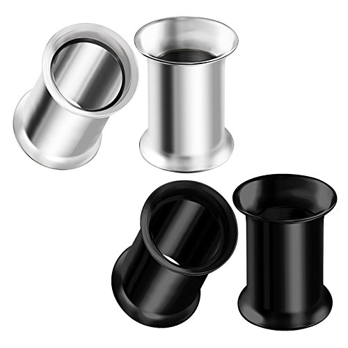 BIG GAUGES 2 Pairs 316L Surgical Steel Gauge Size 1g 7mm Black Anodized Double Flared Piercing Jewelry Ear Plugs Lobe Tunnel BG0633