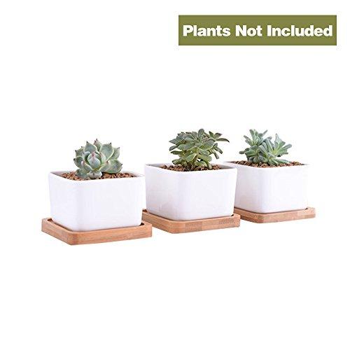 Cheap  Y8HM 3.54 Inch White Ceramic Contemporary Square Design Garden Pots, Succulents/Cactus Plant..