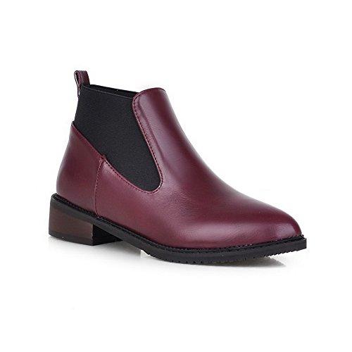 AgooLar Damen Ziehen auf Niedriger Absatz PU Gemischte Farbe Niedrig-Spitze Stiefel Weinrot
