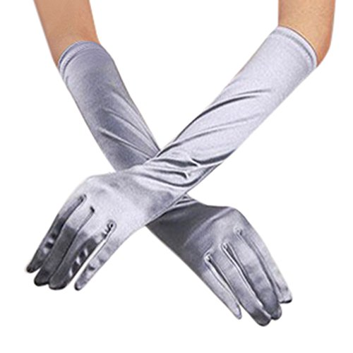 (Xlala Womens Winter Fashion Solid Smooth Stretch Satin Long Gloves Opera Wedding Bridal Evening Party Prom Gloves)