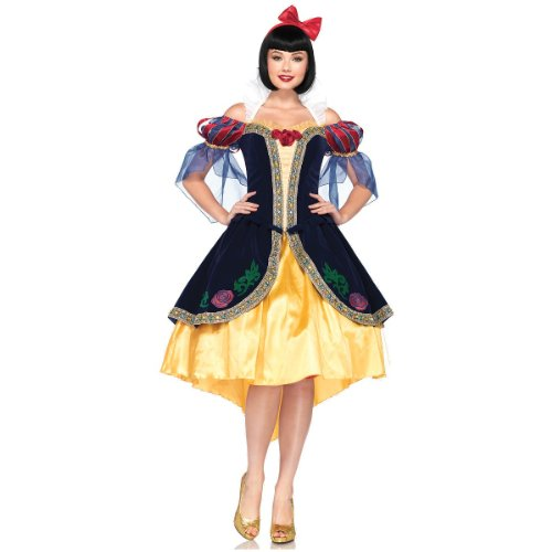 Snow White Deluxe Adult Womens Costumes (Leg Avenue Costumes 3Pc.Deluxe Snow White Includes Dress, Removable Back bow and Bow Headband, Blue/Gold, Small)