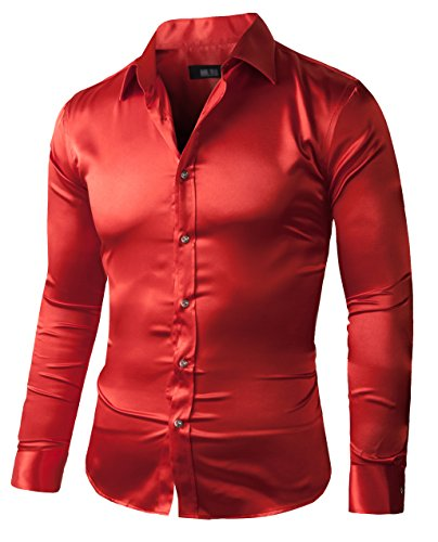 ZERDSKY Men's Slim-Fit Satin Shiny Dance Prom Dress Shirt,Red,Small - 15