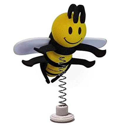 Fits Thick Fat Style Antenna HappyBalls Happy Bee Car Antenna Topper//Mirror Dangler//Desktop Spring Stand Bobble
