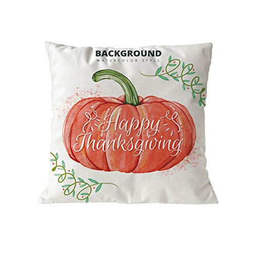GOVOW Pillow Case Standard Size Cotton Halloween Pumpkin Cushion Cover Square Thanksgiving Day Decor