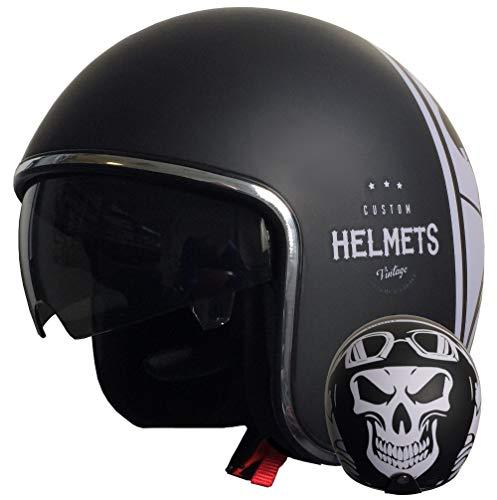 Jethelm Helm Motorradhelm RALLOX 588 Skull Größe XL matt schwarz mit Sonnenvisier