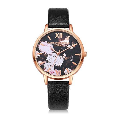 Womens Butterfly Style Leather Band Analog Quartz Wrist Watch Black - 4
