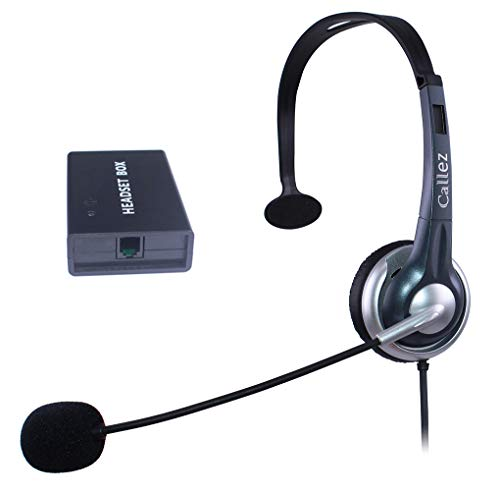 Callez Corded Telephone Headset Universal Compatible with Most Landline Desk Phones, RJ9 Headsets with Answer Button, Noise Cancelling Mic, Volume Controls (C300AHB)