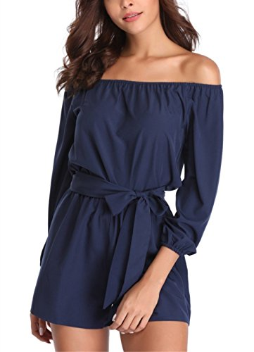 (MISS MOLY Rompers for Women Strapless Off The Shoulder Long Sleeve Short Jumpsuits with Belt Navy)