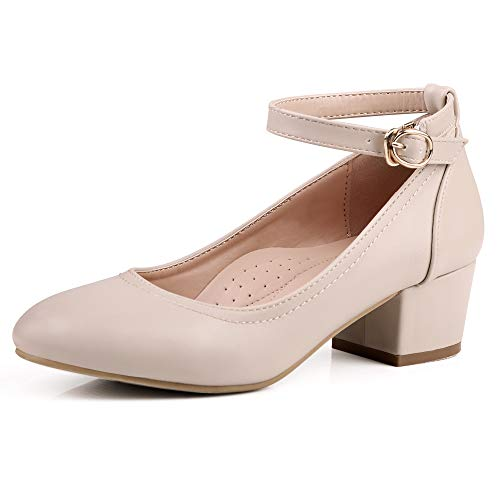 Robasiom Low Heel Chunky Heels Dress Shoes for Women, Comfortable Ankle Strap Mary Jane Style Pumps Round Toe Ladies (9-9.5B(M), Light Apricot) ()