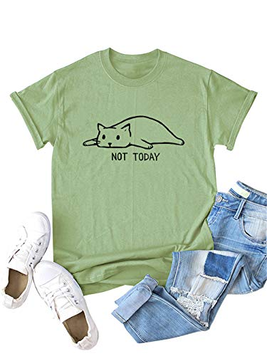 Festnight Women's Not Today Crazy Cat T Shirts Graphic Cute Funny Cotton Short Sleeve Blouse Cartoon Cat Letters Print Tops Army Green