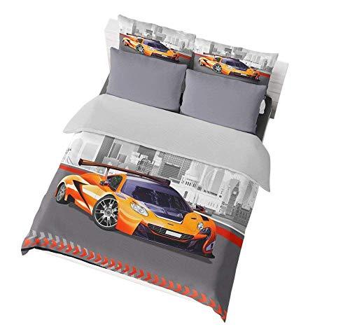Jwellking Orange Sport Car Full Size Teen Boy's Bedding Set, Cool Orange Sport Car Printed in Duvet Cover Set,3pcs 1 Duvet Cover 2 Speed Sport Car Pillowcases(No Comforter Inside).