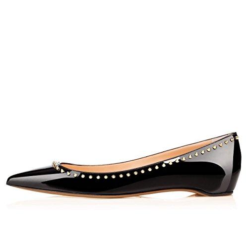 Arc-en-Ciel zapatos de mujer de charol plana tachonada Negro