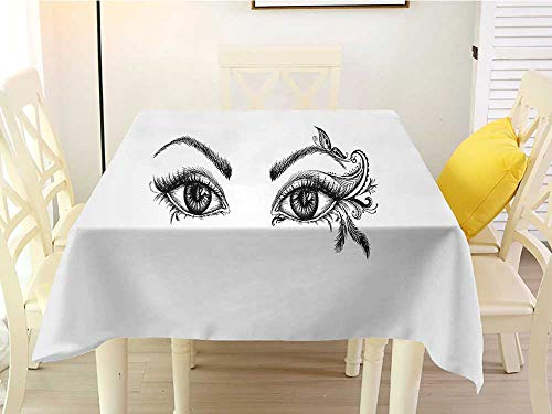 L'sWOW Square Tablecloth Space Eyelash Monochrome Artistic Drawing of Young Woman Eyes Feathers Butterfly Floral Details Black White Fringe 54 x 54 Inch