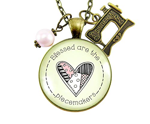 """24"""" Blessed Are The Piecemakers Necklace Quilter Beatitudes Bible Quote Jewelry Vintage Seamstress Machine Charm from Gutsy Goodness"""