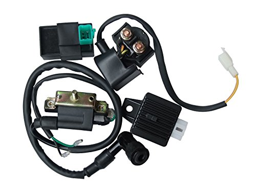 (shamofeng High Performance CG set of Ignition Coil AC CDI Solenoid Relay Voltage Regulator for CG 50cc 70cc 90cc 110cc 125cc Chinese ATV Quad TAOTAO Qiye Dirt Bike Go Kart)