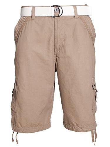 Shorts Sandstorm Clothing (VINTAGE GENES Mens 100% Cotton Baby Ripstop Cargo Shorts With Multiple Pockets, Sandstorm Brown, Size 34)