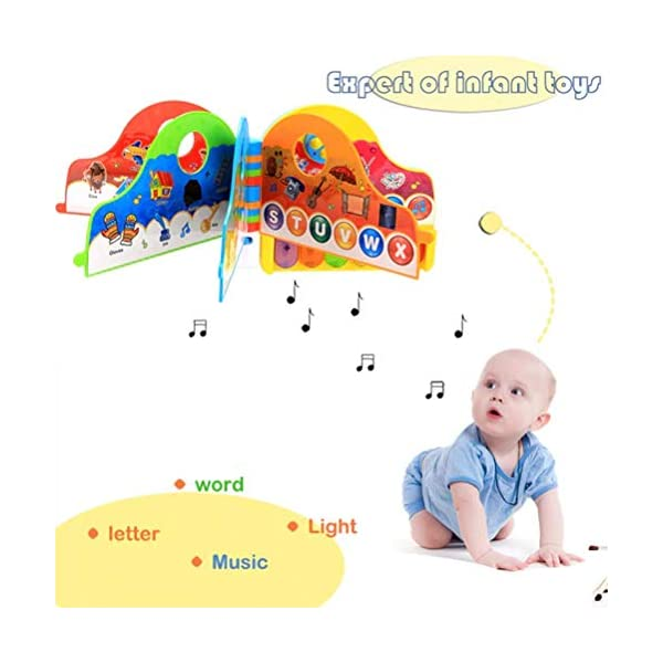 Musical Learning Book Baby Toys Infant Early Development Piano Musical Rhymes Book Toys with Light Music Preschool Reading Flip Flop Learning Book for Toddler Kids Boys Girls Musical Rhymes Book