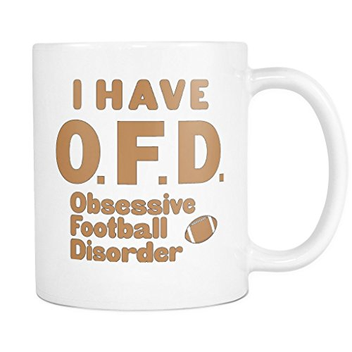 ArtsyMod Premium OFD OBSESSIVE FOOTBALL DISORDER Coffee Mug, PERFECT FUN GIFT for the Football, Super Bowl Lover! Attractive Durable White Ceramic Mug (11oz., Tan Print)